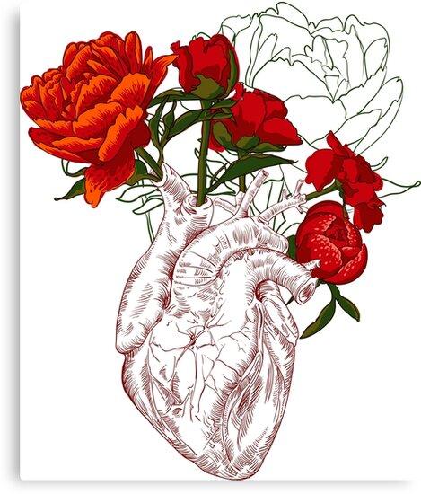 Dessin Coeur Humain dessin coeur humain avec des fleurs », impressions sur toile par