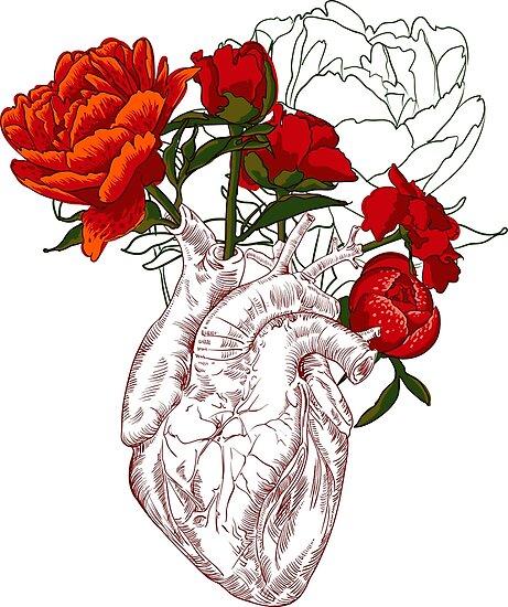Zeichnen Menschliches Herz mit Blumen\