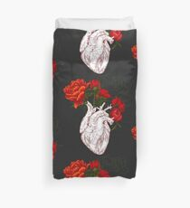 drawing Human heart with flowers Duvet Cover