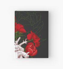Zeichnen Menschliches Herz mit Blumen Notizbuch