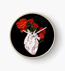 drawing Human heart with flowers Clock