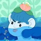 A soft water being emerges by greenseaweed