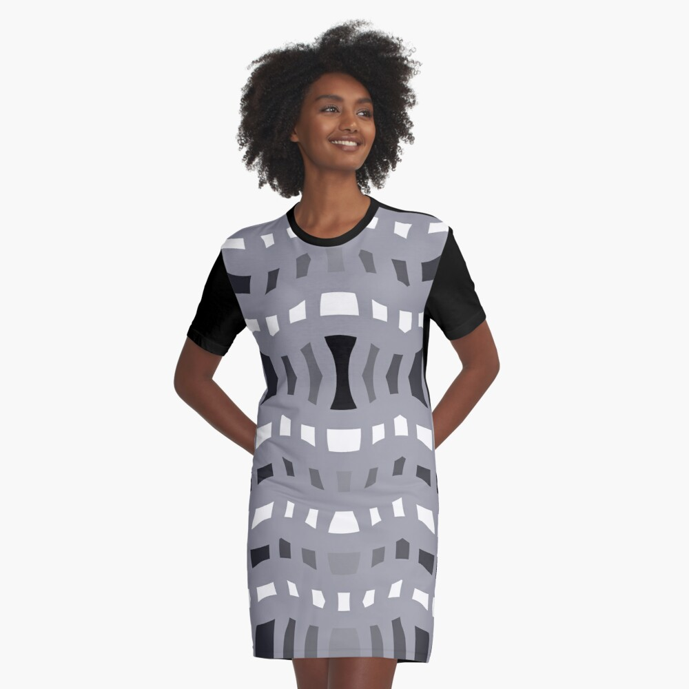 An Active Pattern of Value Changes Graphic T-Shirt Dress Front
