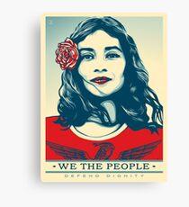 Women's March on Washington Vintage Sticker American Flag Flower Canvas Print