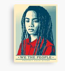 Women's March on Washington Vintage Sticker American Flag Dreadlocks  Canvas Print