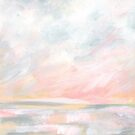 Overwhelm - Pink and Gray Pastel Seascape by KristenLacziArt
