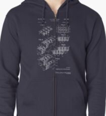 Lego Patent - Dark Background Zipped Hoodie