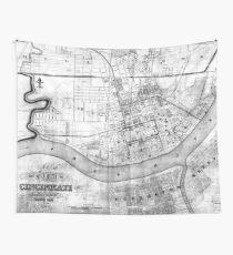 Tela decorativa Mapa vintage de Cincinnati Ohio (1838) BW