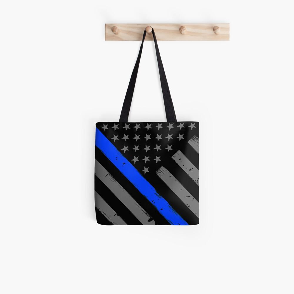 Polizist Flagge dünne blaue Linie Unterstützung Tote Bag