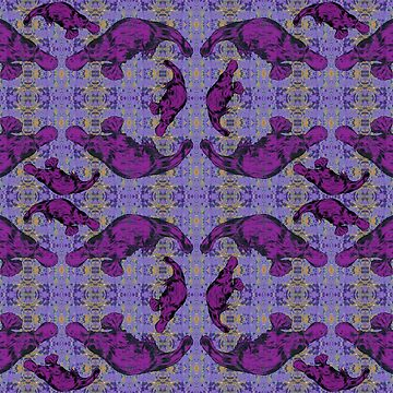 Platypus Swim in Purple Sea by peaceofpistudio