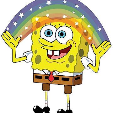 etiqueta engomada de la imaginación de spongebob de cedougherty