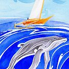 Humpback whale and outrigger sail boat by Andrea England