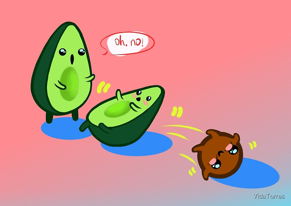 Cute Avocado Design With Background By Vidatorres Redbubble