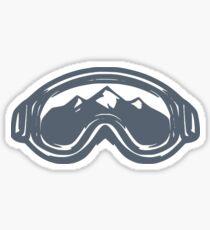 Pegatina Vintage Ski Gafas con montañas