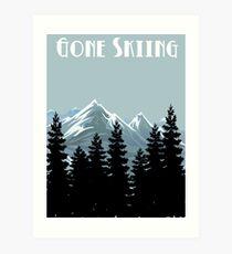 Gone Skiing Vintage Poster Art Print