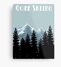 Gone Skiing Vintage Poster Metal Print