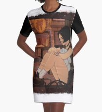 Window View Graphic T-Shirt Dress
