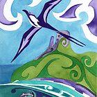 Polynesian frigatebird and hammerhead sharks by Andrea England