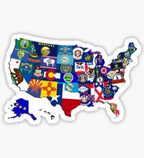 USA-Staatsflaggen-Karten-Mosaik Sticker