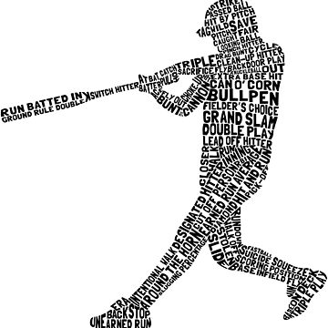 Softball Baseball Player Calligram by gamefacegear