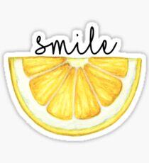 Pegatina Sonrisa limón rebanada acuarela