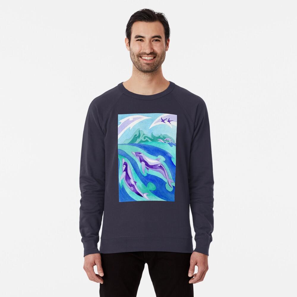 Polynesian dolphins swimming in Moorea Lightweight Sweatshirt