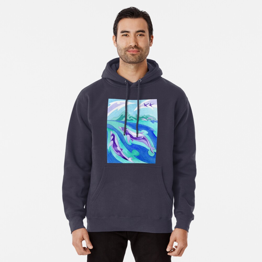 Polynesian dolphins swimming in Moorea Pullover Hoodie