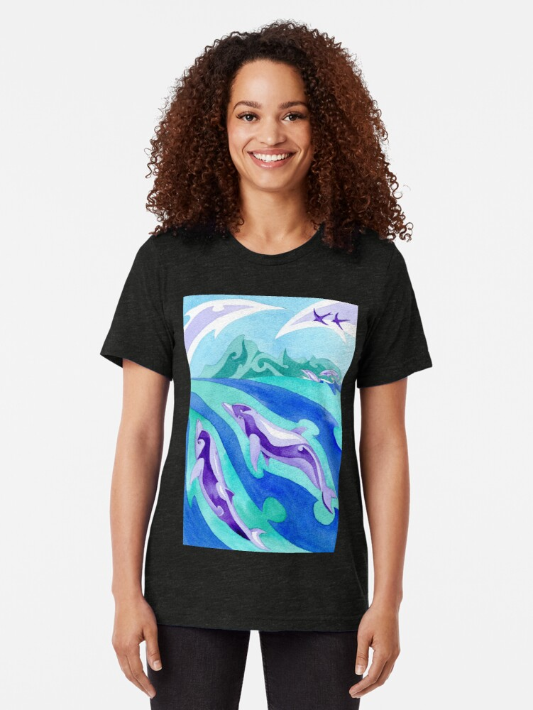Alternate view of Polynesian dolphins swimming in Moorea Tri-blend T-Shirt
