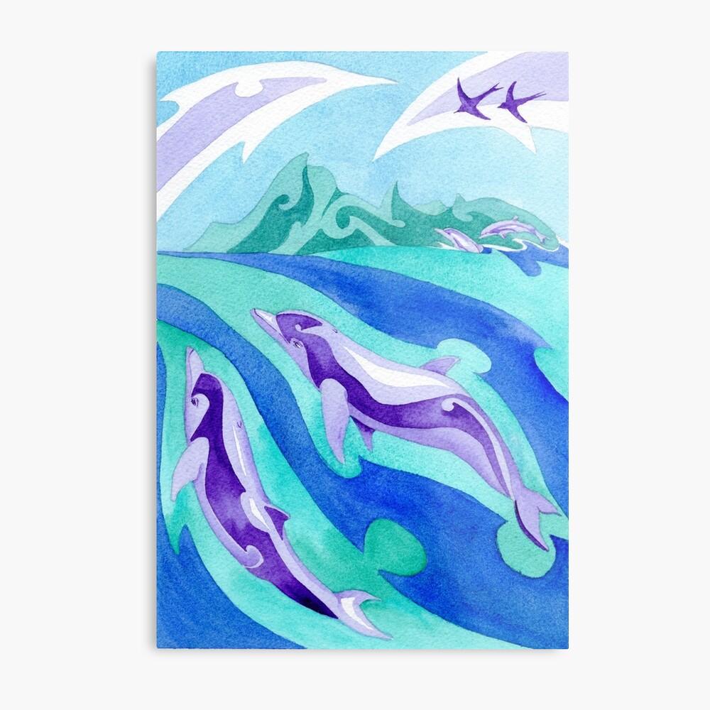 Polynesian dolphins swimming in Moorea Metal Print