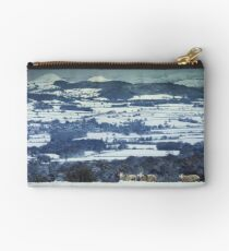 Three Horned Rams in Deep Snow on Scenic Hills Background Studio Pouch