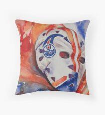 Vintage Goalie Mask - Grant Fuhr Throw Pillow