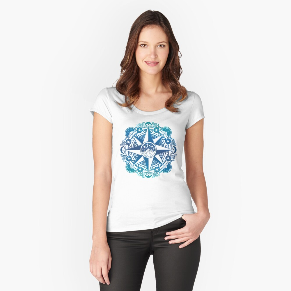 Journey to Moon Mountain | Turquoise Navy Ombré Fitted Scoop T-Shirt