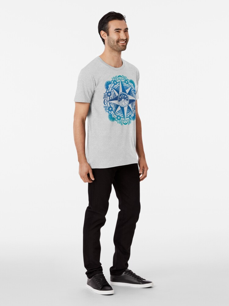 Alternate view of Journey to Moon Mountain | Turquoise Navy Ombré Premium T-Shirt