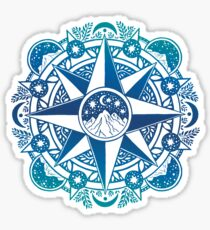 Journey to Moon Mountain | Turquoise Navy Ombré Sticker