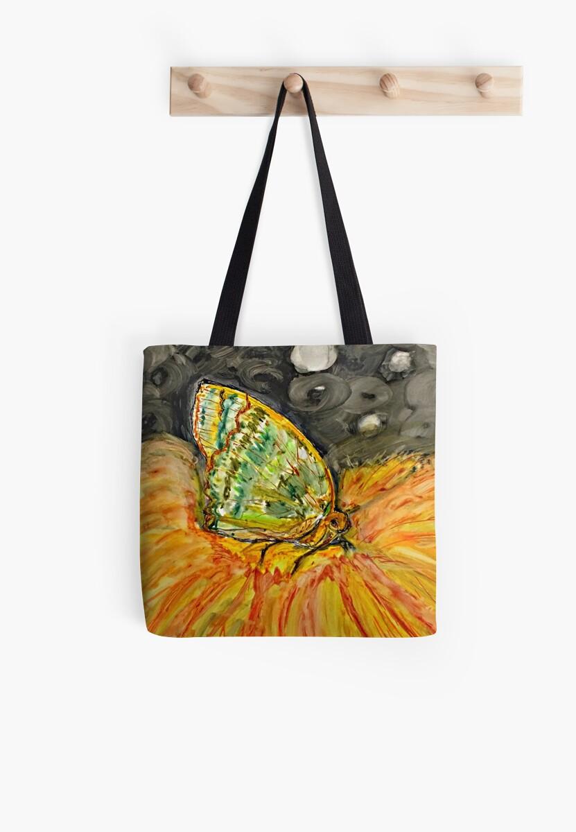 Green Moth on Yellow Flower by HerArtbySylvett