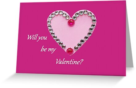 Pale Pink Love Heart with Bead Decoration on Bright Pink Background - Will You Be My Valentine by KeksWorkroom
