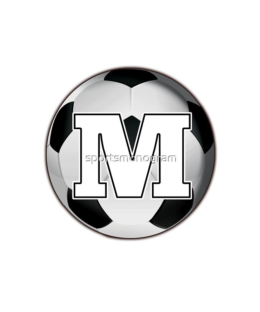 Monogram M Black and White Soccer Ball by sportsmonogram