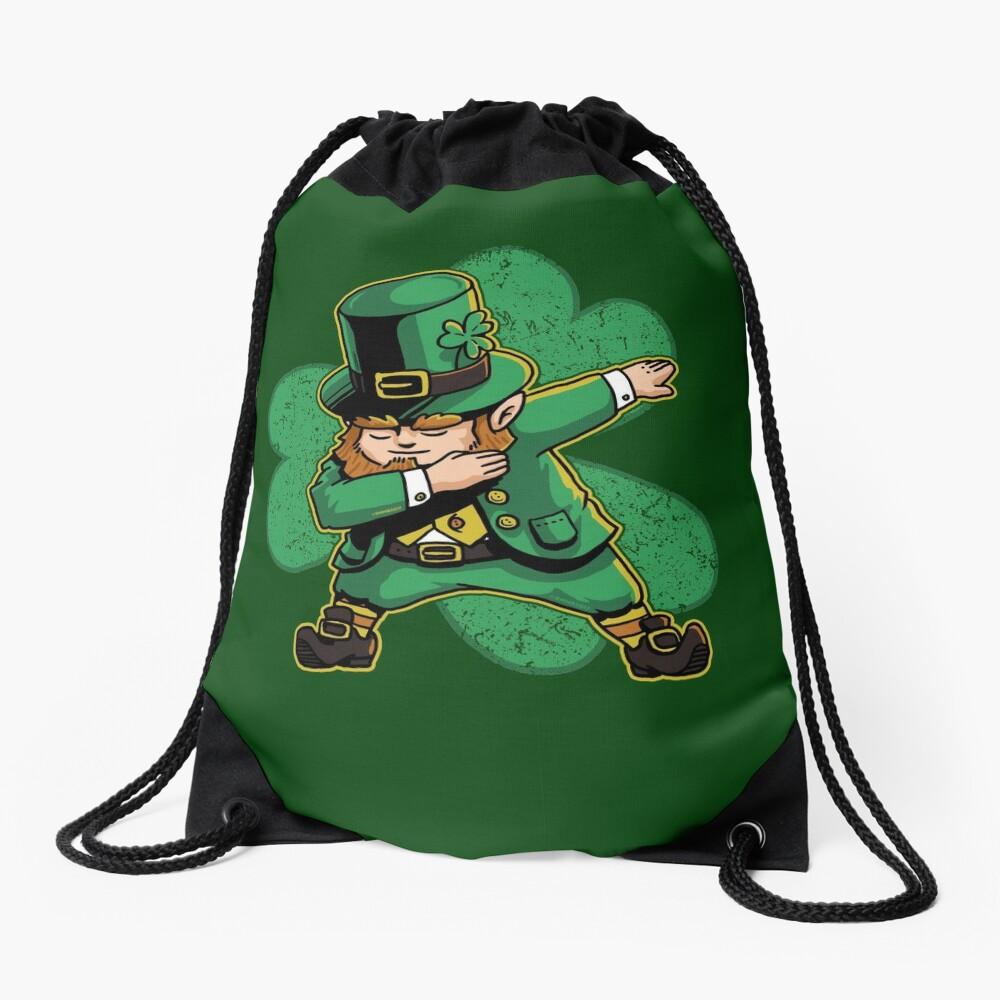 Dabechaun Leprechaun Dabbing St Patricks Day Green Shirt Drawstring Bag
