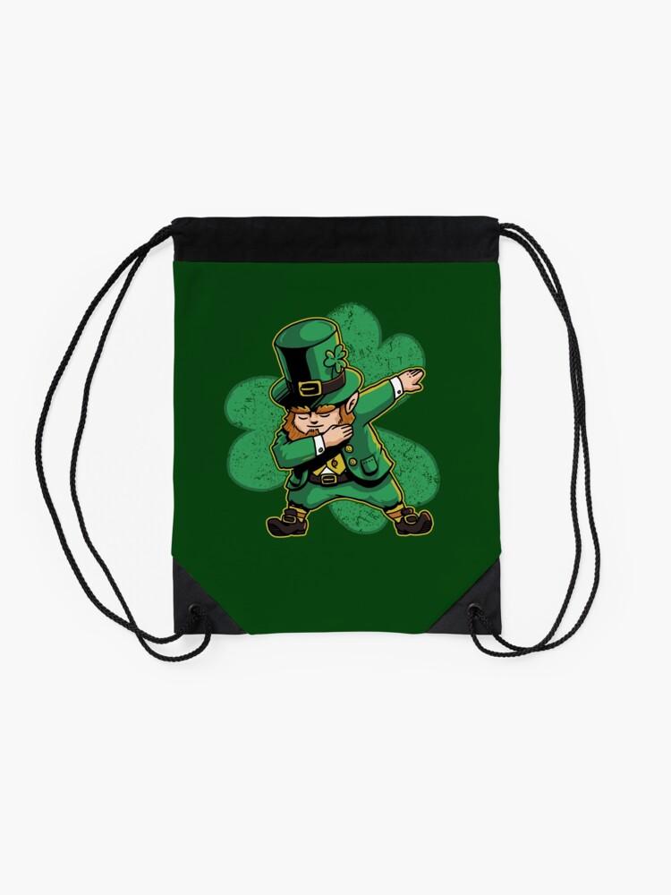 Alternate view of Dabechaun Leprechaun Dabbing St Patricks Day Green Shirt Drawstring Bag