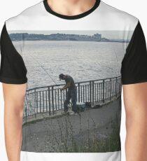 Fisherman, fishing rods,  catching fish, river bank Graphic T-Shirt