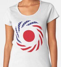 Japanese American Multinational Patriot Flag Series Premium Scoop T-Shirt