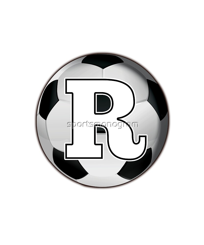 Monogram R Black and White Soccer Ball by sportsmonogram