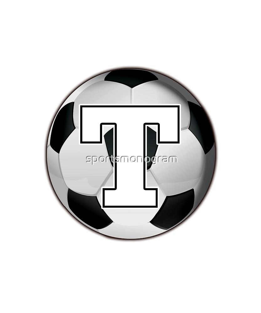 Monogram T Black and White Soccer Ball by sportsmonogram