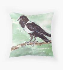 Domino, the Pied Crow (Corvus albus) Throw Pillow