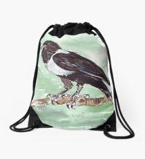 Domino, the Pied Crow (Corvus albus) Drawstring Bag