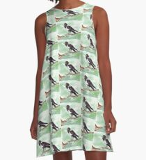 Domino, the Pied Crow (Corvus albus) A-Line Dress