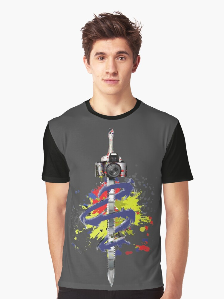 Camera Sword Graphic T-Shirt Front