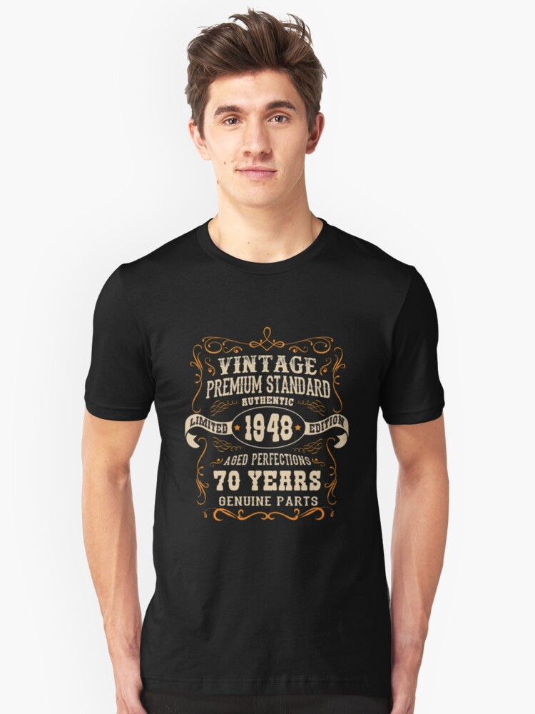 Vintage 70th Birthday  - Antique Made In 1948  Unisex T-Shirt Front