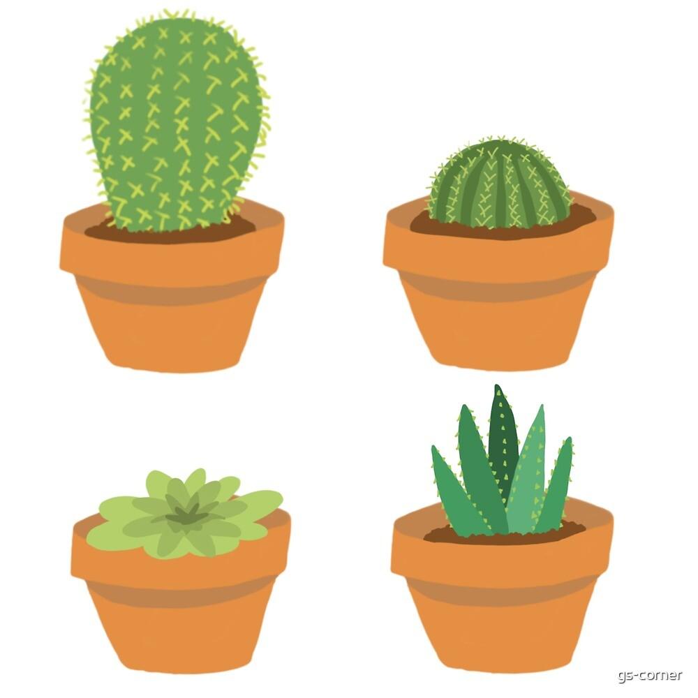 Four pot plants by gs-corner