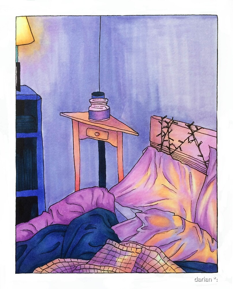 illustration of my bedroom at sunrise by carouseli